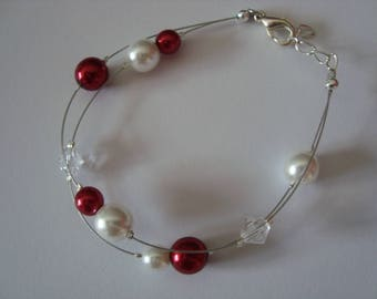 Poppy red and white bracelet