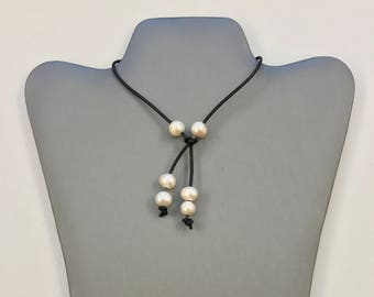 Freshwater Pearl lariat on leather cord