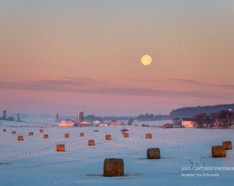 Moon Photo, Nature Photography, Rural Wisconsin, Landscape, Barns, Fine Art Print, Soft Pastels, Sunrise, Full Moon, Healing Art, Home Decor