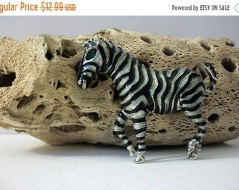 ON SALE Graceful Zebra Larger Thicker Enameled Black Silver Tone Metal Pin 61318