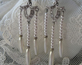 Antique Pearl and Faux Diamante Rhinestone Wedding or Special Occasion Earrings