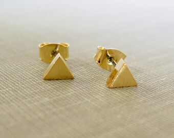 Gold Triangle Earings, Triangle Earings, Gold Jewelry, Gold Earings, Minimalist Gold Jewelry, Geometric Jewelry, Gift for Her