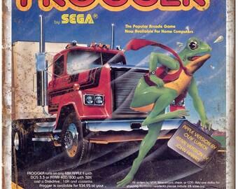 """1981 Frogger ad Sega Atari Apple III Gaming 10"""" x 7"""" Reproduction Metal Sign"""