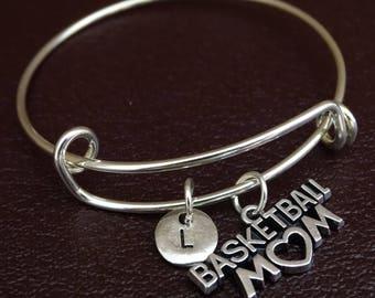 Basketball Mom Bangle Bracelet, Adjustable Expandable Bangle Bracelet, Basketball Mom Charm, Basketball Mom Pendant, Basketball Mom Jewelry