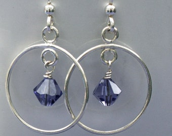 SALE 30% OFF - Tanzanite-Colored Swarovski Crystal and Sterling Silver Earrings