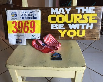 Great gift for runners! May the course be with you - Race Medal Hanger & Race Bib Holder - marathons - triathlons- iron man - Father's Day -