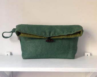 Hand bag Green burlap Fold over Clutch FREE SHIPPING