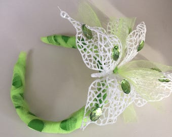 Mystical Butterfly citrine green sparkle Headband Fascinator alternative veil one of a kind