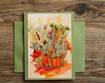 Greeting Art Card A6 with envelope Original art print Fall blank greeting card all occasion card paper stationary mixed media cut out print