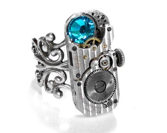 Steampunk Jewelry Ring Vintage Men's Womens PINSTRIPED Watch Part SOLDERED Turquoise Crystal Wedding Holiday - Jewelry by Steampunk Boutique