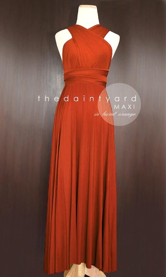 MAXI Burnt Orange Bridesmaid Dress Prom Dress Infinity Dress