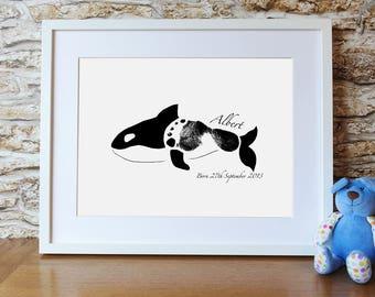 PRINTABLE personalised Whale footprint print for a nursery wall keepsake or gift