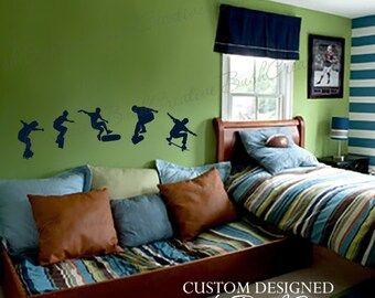 Wall Decals skateboarding -Skateboard Vinyl Wall Decal, Skateboarder Decal, Skateboard Wall Decal for Teen, Kids or Childrens Room 042