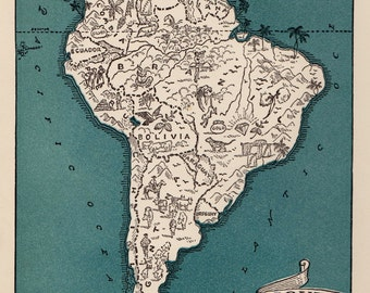 Vintage SOUTH AMERICA Picture Map Pictorial South America Print 1940s Map Travel Map Gallery Wall Art Gift for Boyfriend Birthday Gift