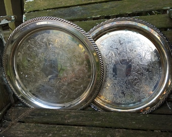 Pair of Vintage Silver Plated Serving Trays