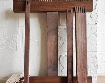 Loom weaving kit: handmade walnut tapestry loom with curved cut out centre.  Includes loom, needle, beater, shuttle, warp yarn