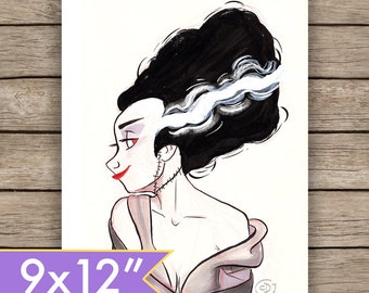 9x12 Inktober Bride of Frankenstein Art Print