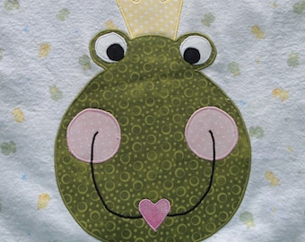 Frog Prince Baby Blanket - Little Frog Soft Flannel Receiving Blanket, Green White Yellow