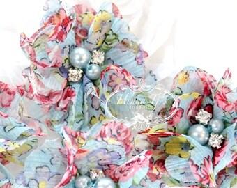 "NEW: 4pcs Aubrey Vintage Aqua Spring Flowers Garden Patterned - 2"" Soft Chiffon w/ pearls rhinestones Mesh Layered Small Fabric Flowers"