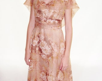 Pink Floral Chiffon Dress / garden dress / Floral dress / xs / s