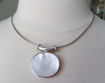 Sterling Silver 925 Stamped, Choker Necklace with MOP Slide Pendant.