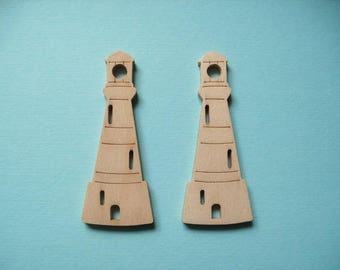 4 lighthouses, wood, 6,3 x 2,5 cm
