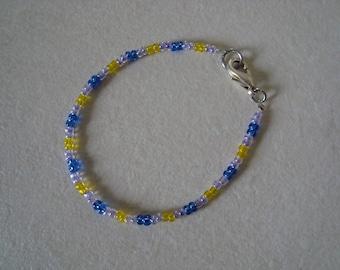 Bracelet girl purple, blue and yellow