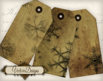 Grunge Snowflake tags instant download printable gift tags digital Collage Sheet VD0530