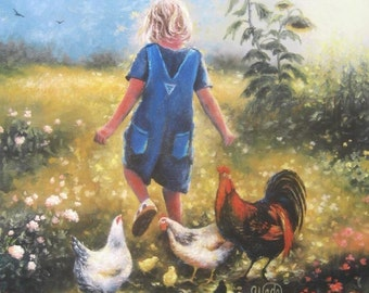 Country Girl Art Print, blond girl, girl & chickens, roosters painting, farm girl art, little girl art, blue, sunflowers, Vickie Wade Art
