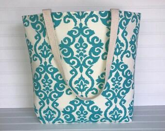 Aqua Paisley Tote | Handmade Everyday Tote | Market Bag