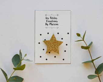 gold glitter star brooch