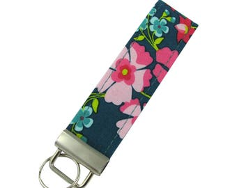 Personalized Key Chain / Key Blue and Pink Modern With Optional Initials