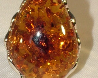Natural Baltic Yellow Amber 925 Sterling Silver Gemstone Gem Diamond Set Ancient Celtic Ring Goth Witch Adjustable