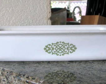 Corning Ware baking dish vintage green and white P-332 glass made in USA