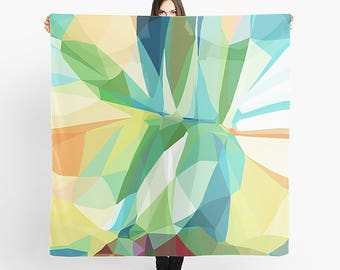 Art Scarf, Printed Scarf, Geometric Scarf, Modern Scarf, Women's Scarf, Light Scarf, Sheer Scarf, Abstract Scarf, Large Scarf, Chiffon Scarf
