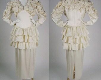 "Vintage 80s Ivory Silk Wedding Dress, 1980s Ivory V Neck Long Sleeve Dress with Tiered Peplum & Floral Rosettes, Festival Maxi Dress, B40"""