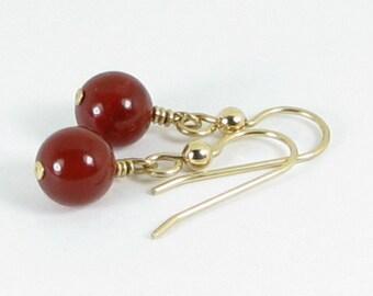Bold Carnelian and Gold Earrings