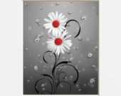 Red Gray Modern Bath Wall Art, Daisy Flowers Bubbles, Red Powder Room, Bedroom Home Decor Matted Picture