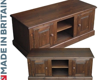 Traditional Solid Pine 2 Door, Large TV Unit, Stand. Choice of Colours. Handcrafted in Britain (TTV2)