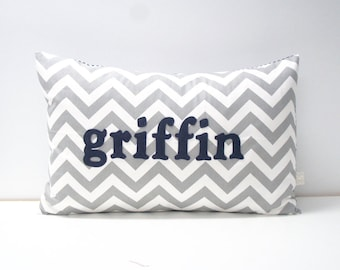 Pillow Cover - Personalized Name Pillow Cover, 16x24, custom - made to order, grey chevron