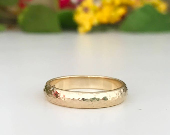 9ct yellow gold hammered finish wedding ring 4mm wide