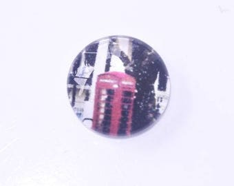 Glass cabochon 14mm illustrated English phone booth
