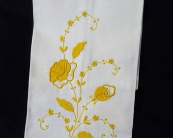 Linen Tea Towel, Floral Tea Towel, Embroidered Kitchen Towel, Guests Towel,  Dishes Towels, Cottage Shabby Towels, Pippin Towels.