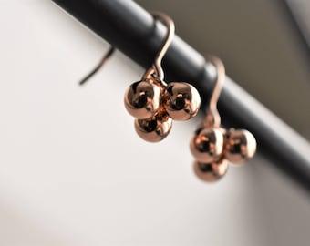 Rose gold filled earring, Rose gold dangle earring, Beaded earring, Rose gold bead earring, Rose gold pendant earring, Dot earring.