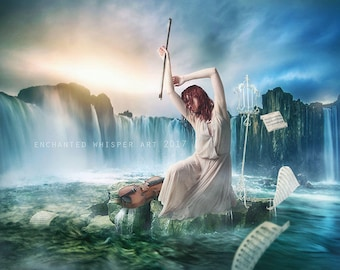 Surreal fantasy violinist in the ocean art print