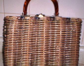 Classic Wicker Handbag in Brown Tones