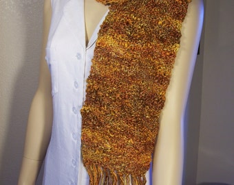 "Golden Topaz hand knitted Silk and Merino Wool 7"" wide by 54"" long with 8"" fringe Scarf"