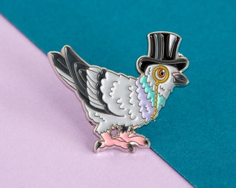 Pigeon Enamel Pin Badge - Birds in Hats Pigeon in a Top Hat Pin Badge, Lapel Badge, Hat Pin, Pigeon pin, Bird pin, Pigeon badge
