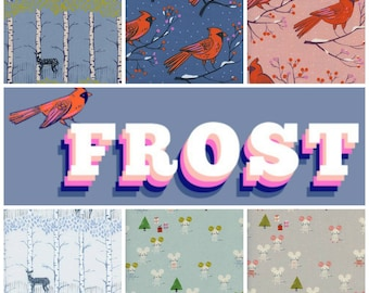 Cotton + Steel Frost - Christmas Fabric - Fat Quarter Bundle - Fabric Precut Bundle - 13 Unbleached Quilting Cotton