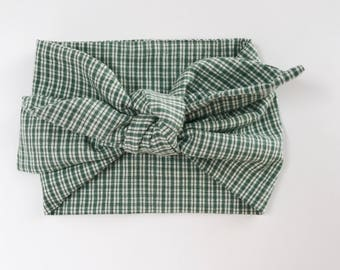 Cotton Green with Beige Plaid Headwrap/Headband - One Size Fits All